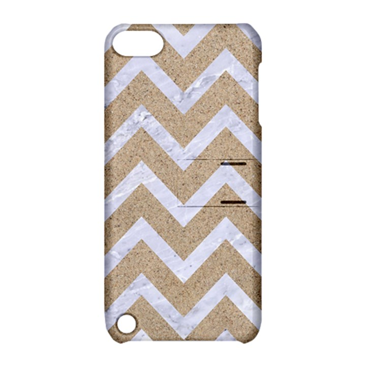 CHEVRON9 WHITE MARBLE & SAND Apple iPod Touch 5 Hardshell Case with Stand