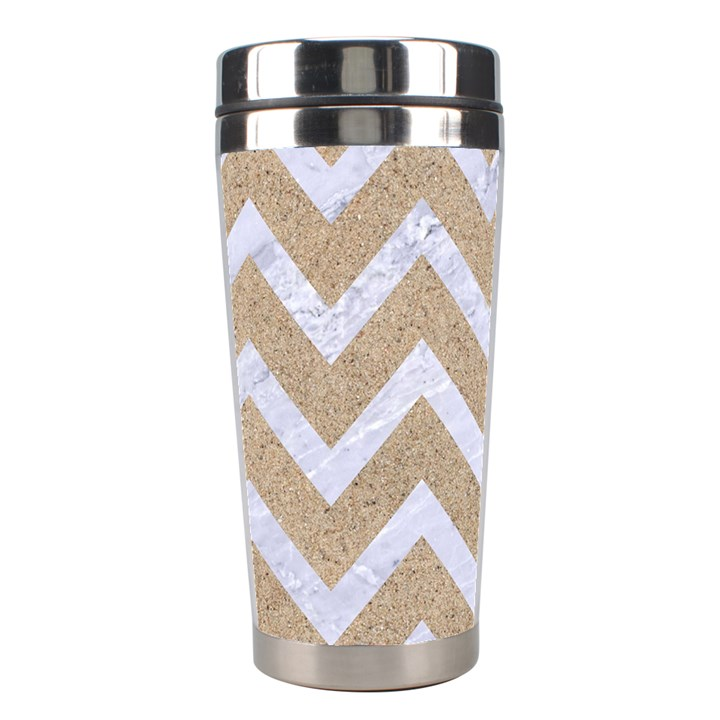 CHEVRON9 WHITE MARBLE & SAND Stainless Steel Travel Tumblers