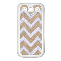 Chevron9 White Marble & Sand Samsung Galaxy S3 Back Case (white)