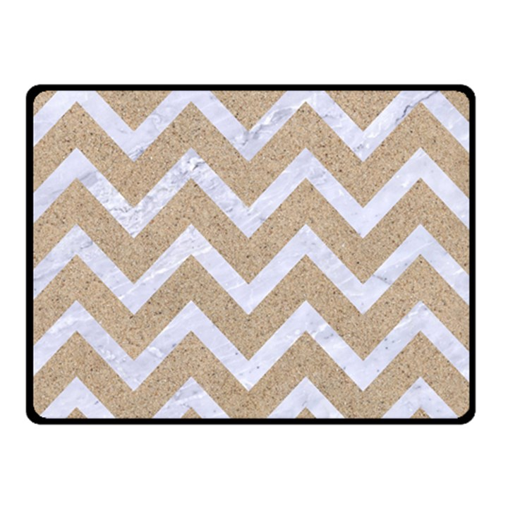 CHEVRON9 WHITE MARBLE & SAND Double Sided Fleece Blanket (Small)