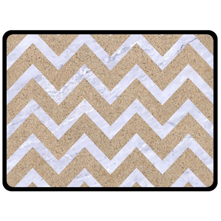 CHEVRON9 WHITE MARBLE & SAND Double Sided Fleece Blanket (Large)