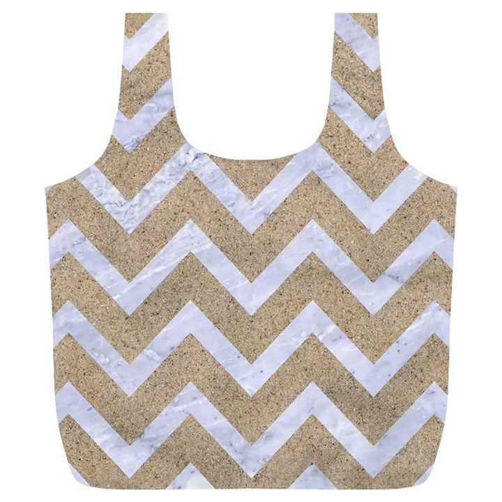 CHEVRON9 WHITE MARBLE & SAND Full Print Recycle Bags (L)