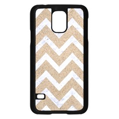 Chevron9 White Marble & Sand Samsung Galaxy S5 Case (black)