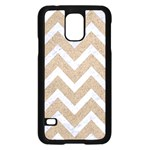 CHEVRON9 WHITE MARBLE & SAND Samsung Galaxy S5 Case (Black) Front