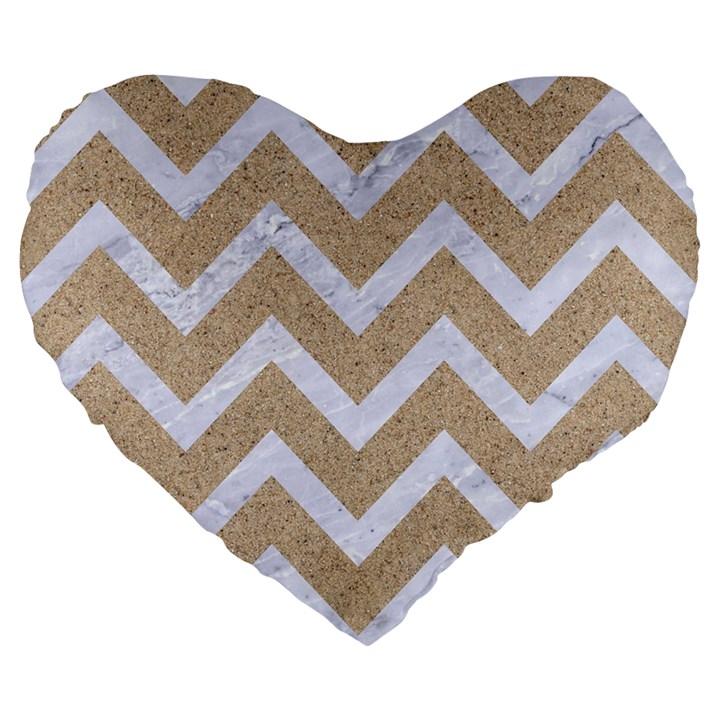 CHEVRON9 WHITE MARBLE & SAND Large 19  Premium Flano Heart Shape Cushions
