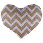 CHEVRON9 WHITE MARBLE & SAND Large 19  Premium Flano Heart Shape Cushions Back