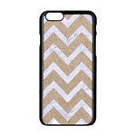 CHEVRON9 WHITE MARBLE & SAND Apple iPhone 6/6S Black Enamel Case Front