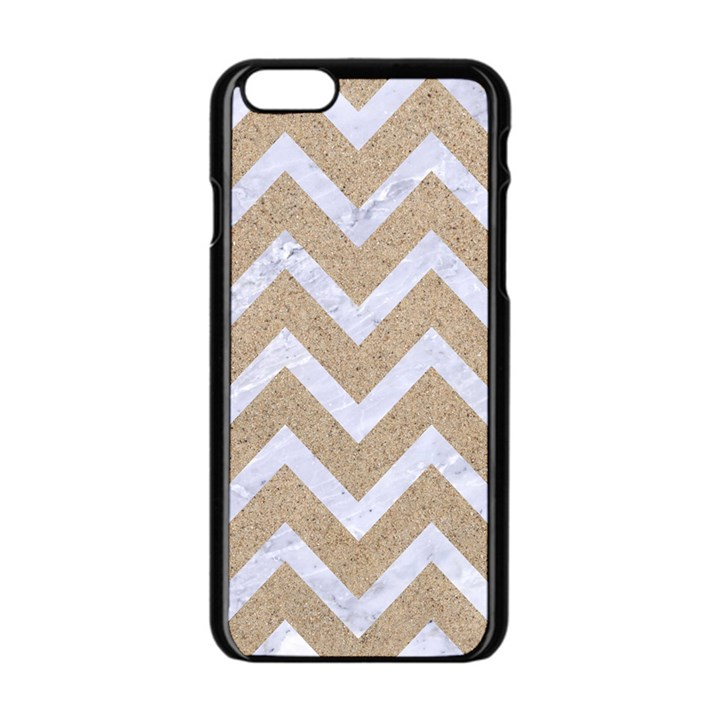 CHEVRON9 WHITE MARBLE & SAND Apple iPhone 6/6S Black Enamel Case