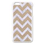 CHEVRON9 WHITE MARBLE & SAND Apple iPhone 6 Plus/6S Plus Enamel White Case Front