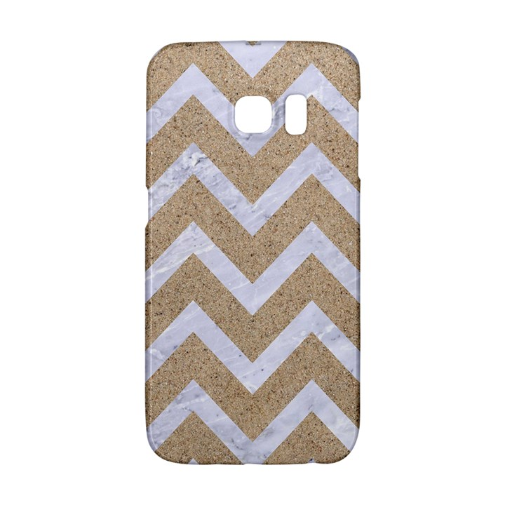 CHEVRON9 WHITE MARBLE & SAND Galaxy S6 Edge