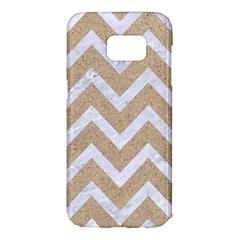 Chevron9 White Marble & Sand Samsung Galaxy S7 Edge Hardshell Case