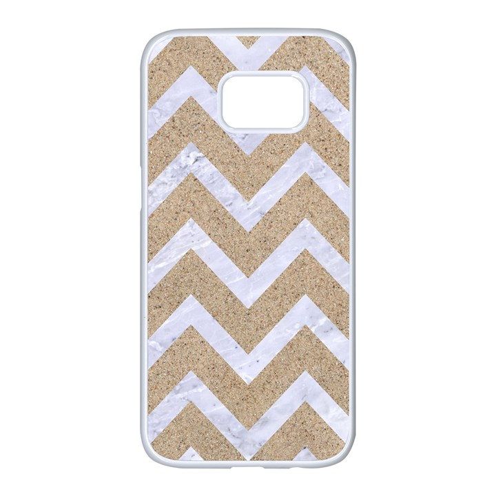 CHEVRON9 WHITE MARBLE & SAND Samsung Galaxy S7 edge White Seamless Case