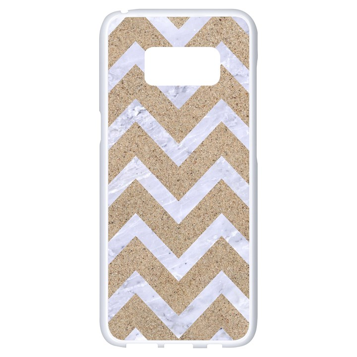 CHEVRON9 WHITE MARBLE & SAND Samsung Galaxy S8 White Seamless Case