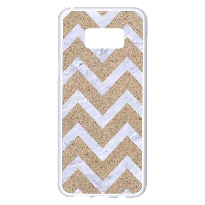 CHEVRON9 WHITE MARBLE & SAND Samsung Galaxy S8 Plus White Seamless Case
