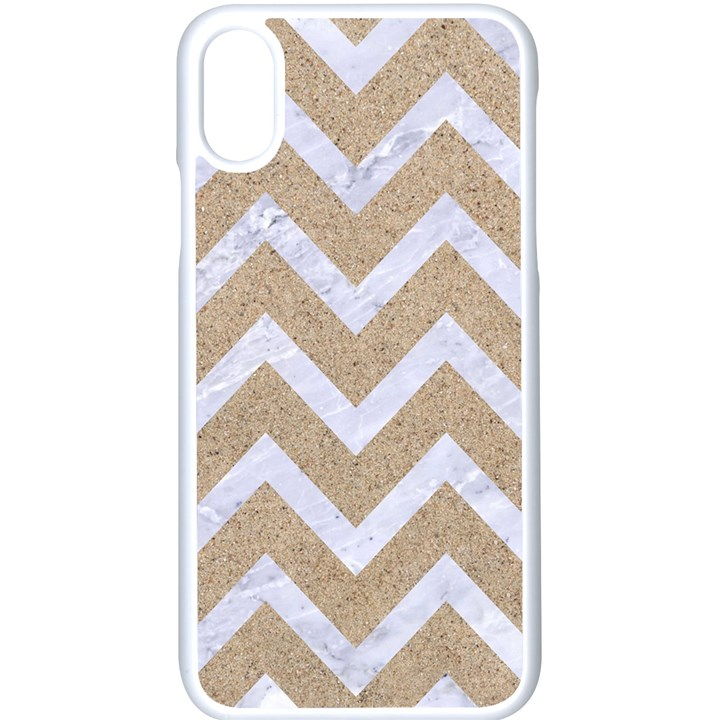 CHEVRON9 WHITE MARBLE & SAND Apple iPhone X Seamless Case (White)