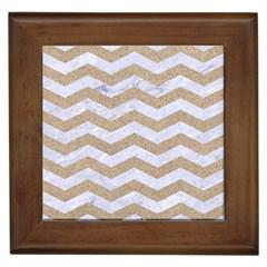 Chevron3 White Marble & Sand Framed Tiles