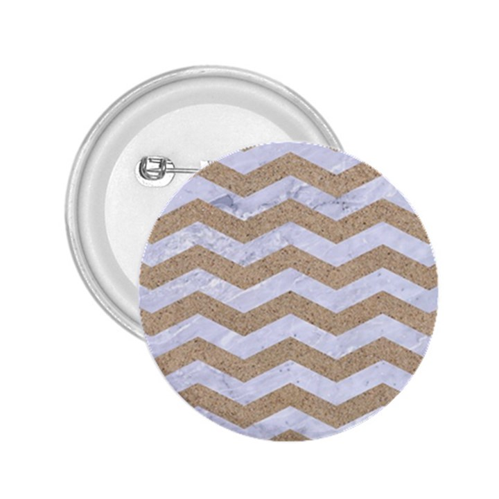 CHEVRON3 WHITE MARBLE & SAND 2.25  Buttons