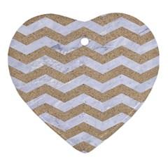 Chevron3 White Marble & Sand Ornament (heart)