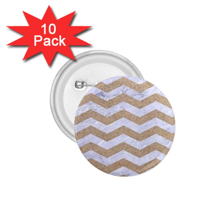 CHEVRON3 WHITE MARBLE & SAND 1.75  Buttons (10 pack)