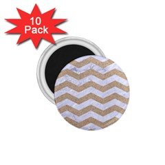 Chevron3 White Marble & Sand 1 75  Magnets (10 Pack)