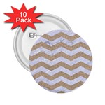 CHEVRON3 WHITE MARBLE & SAND 2.25  Buttons (10 pack)  Front