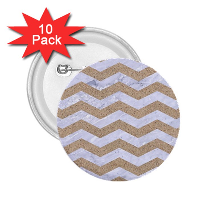 CHEVRON3 WHITE MARBLE & SAND 2.25  Buttons (10 pack)