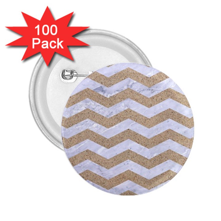 CHEVRON3 WHITE MARBLE & SAND 2.25  Buttons (100 pack)