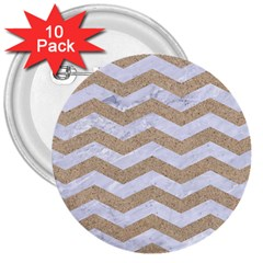 Chevron3 White Marble & Sand 3  Buttons (10 Pack)