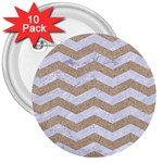 CHEVRON3 WHITE MARBLE & SAND 3  Buttons (10 pack)  Front