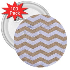 Chevron3 White Marble & Sand 3  Buttons (100 Pack)
