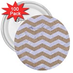 CHEVRON3 WHITE MARBLE & SAND 3  Buttons (100 pack)  Front