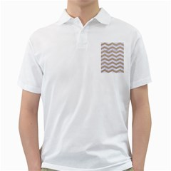 Chevron3 White Marble & Sand Golf Shirts
