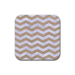 Chevron3 White Marble & Sand Rubber Coaster (square)