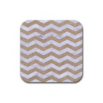 CHEVRON3 WHITE MARBLE & SAND Rubber Coaster (Square)  Front