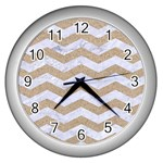 CHEVRON3 WHITE MARBLE & SAND Wall Clocks (Silver)  Front