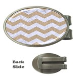 CHEVRON3 WHITE MARBLE & SAND Money Clips (Oval)  Front