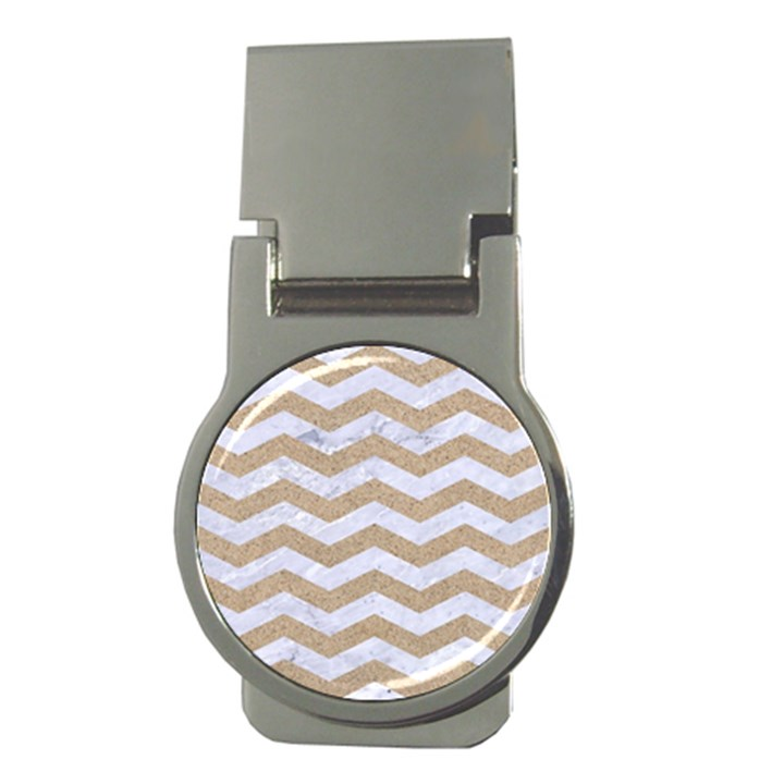 CHEVRON3 WHITE MARBLE & SAND Money Clips (Round)