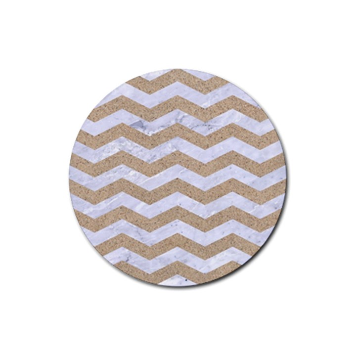 CHEVRON3 WHITE MARBLE & SAND Rubber Round Coaster (4 pack)