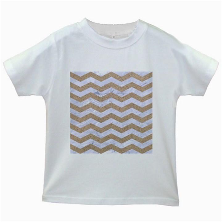 CHEVRON3 WHITE MARBLE & SAND Kids White T-Shirts
