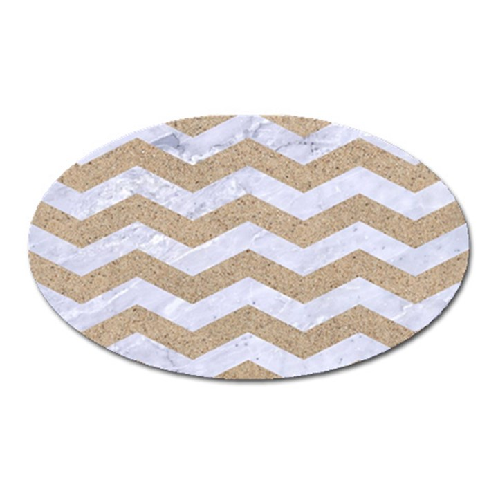 CHEVRON3 WHITE MARBLE & SAND Oval Magnet