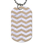 CHEVRON3 WHITE MARBLE & SAND Dog Tag (Two Sides) Front