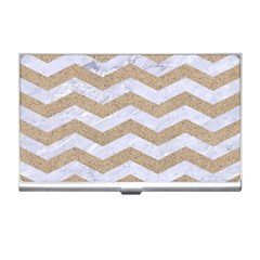 Chevron3 White Marble & Sand Business Card Holders