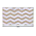CHEVRON3 WHITE MARBLE & SAND Business Card Holders Front