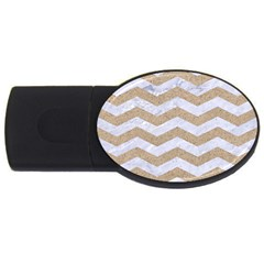 Chevron3 White Marble & Sand Usb Flash Drive Oval (2 Gb)