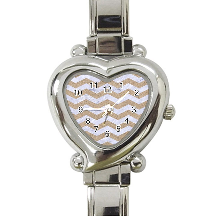 CHEVRON3 WHITE MARBLE & SAND Heart Italian Charm Watch