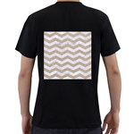 CHEVRON3 WHITE MARBLE & SAND Men s T-Shirt (Black) (Two Sided) Back