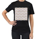 CHEVRON3 WHITE MARBLE & SAND Women s T-Shirt (Black) (Two Sided) Front