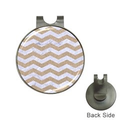Chevron3 White Marble & Sand Hat Clips With Golf Markers