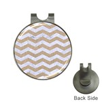 CHEVRON3 WHITE MARBLE & SAND Hat Clips with Golf Markers Front