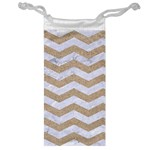CHEVRON3 WHITE MARBLE & SAND Jewelry Bag Front